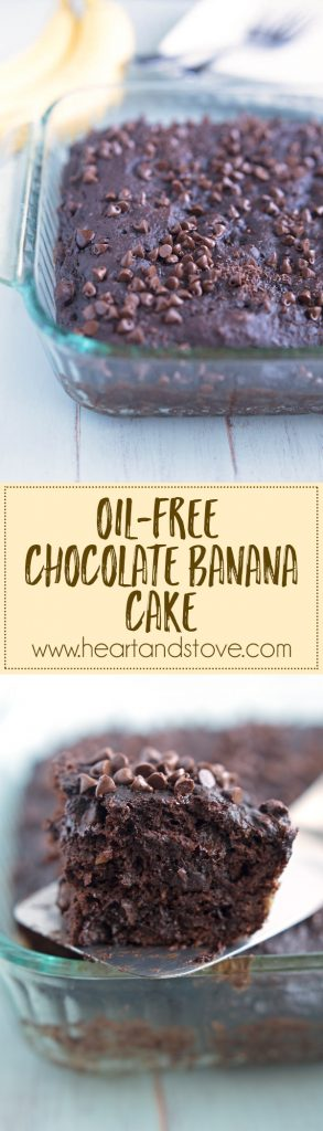 Chocolate Banana Cake - A lightened up chocolate cake made WITHOUT butter or oil. A secret ingredient makes this cake extra chocolate-y. A must try! | www.heartandstove.com