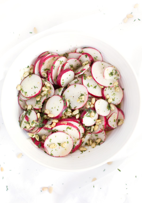 Radish & Pine Nut Salad - A fresh salad recipe that pairs crisp radishes & toasted pine nuts with a bright, citrus-y vinaigrette. Easy & healthy! | www.heartandstove.com
