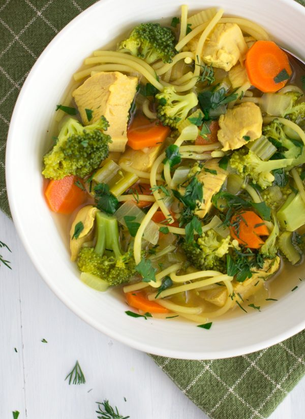 Chicken Veggie Noodle Soup - Warm & comforting one pot chicken soup - with an extra helping of veggies - ready in under an hour. | www.heartandstove.com