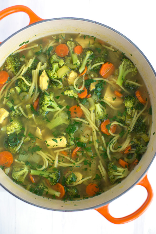 Chicken Veggie Noodle Soup - Warm & comforting one pot chicken soup - with an extra helping of veggies - ready in under an hour.   www.heartandstove.com