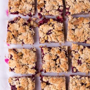 """Jam-Filled Passover Bars - An easy, one-bowl, """"kosher for Passover"""" dessert! featuring matzo meal, walnuts, coconut, and raspberry jam. 