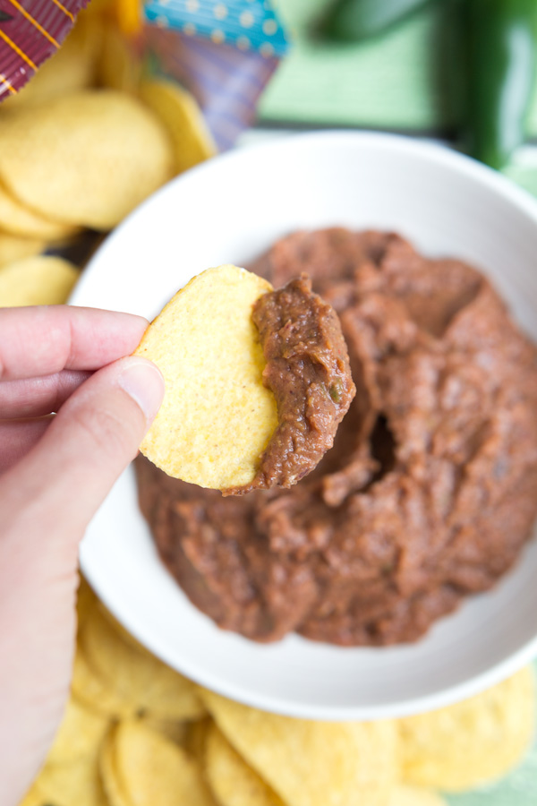 Black Bean Dip - Black beans, jalapeño, and spices make a tasty, protein & fiber filled dip. A fast & easy make-ahead snack!   www.heartandstove.com