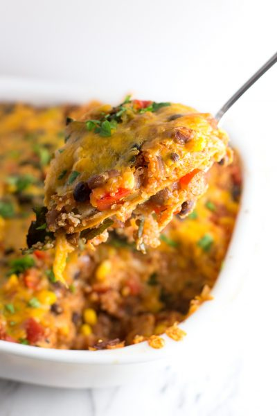Mexican Casserole Quinoa - A filling, vegetarian casserole loaded with veggies & Mexican flavors!