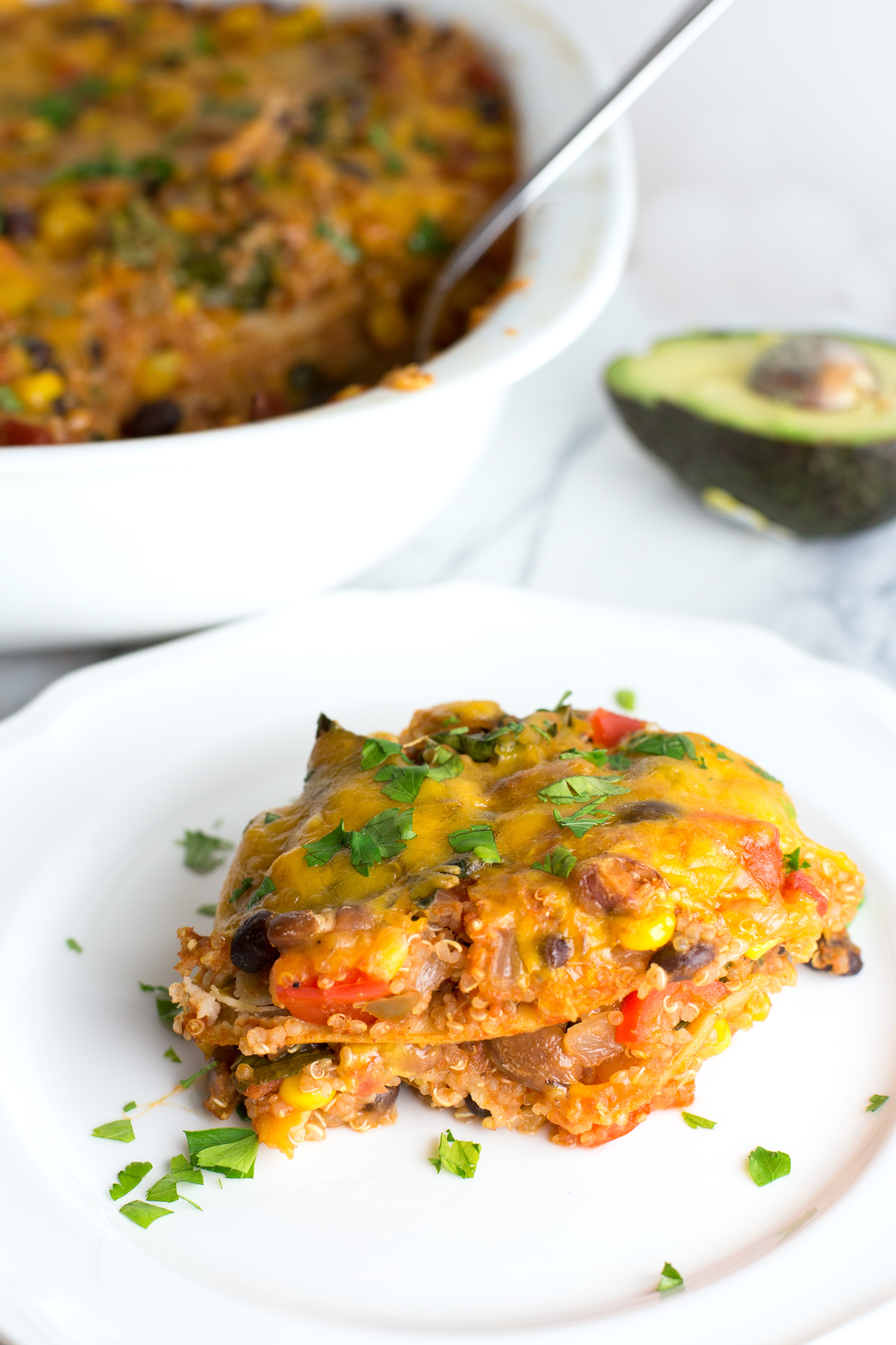 Mexican Quinoa Casserole - A filling, vegetarian casserole loaded with veggies & Mexican flavors!