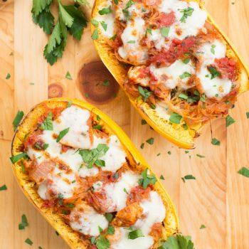 Cheesy Chicken Spaghetti Squash Boats
