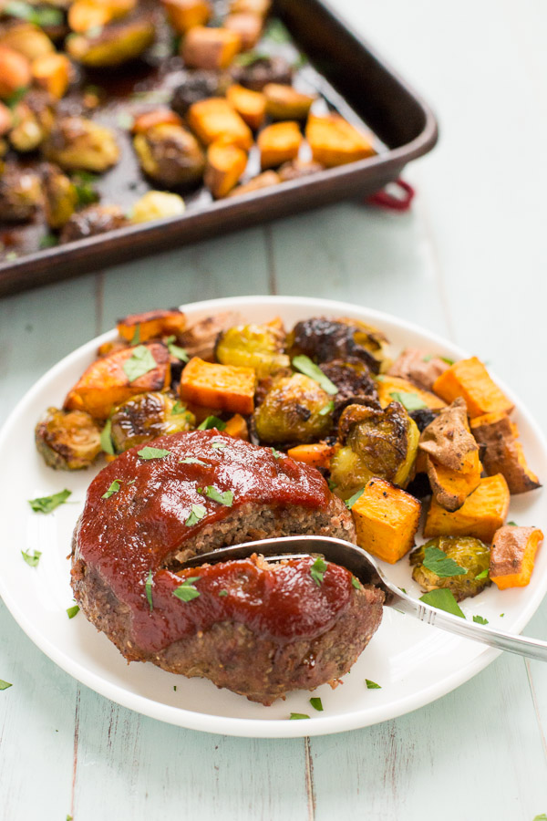 One Pan Mini Meatloaves with Roasted Brussel Sprouts and Sweet Potatoes