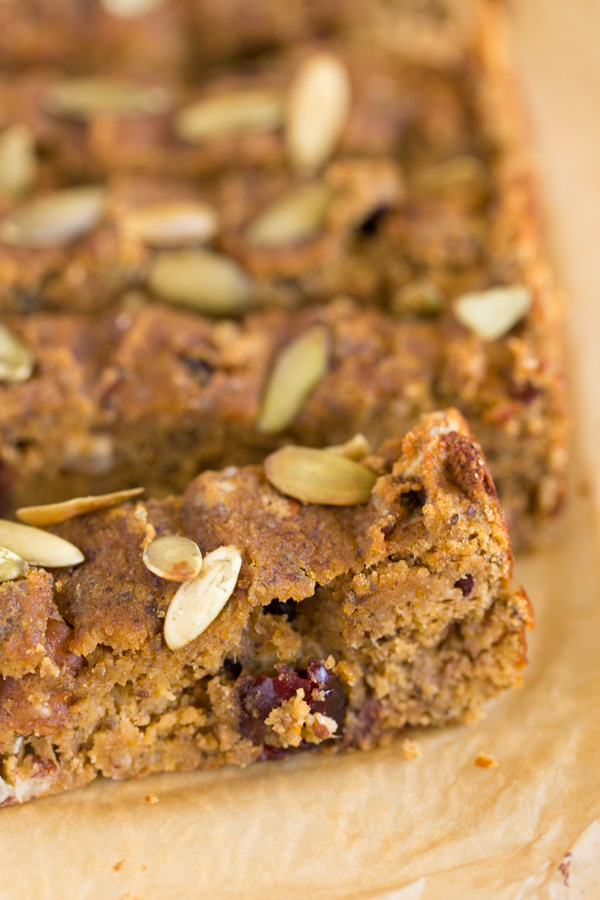 Coconut Flour Pumpkin Harvest Bread is a healthier treat (gluten-free, naturally sweetened) and full of fall flavor perfect for breakfast or dessert! Think pumpkin, bananas, maple syrup, pecans, dried cranberries, pumpkin seeds, plus chia seeds & ground flax for extra omega-3 fats.  www.heartandstove.com