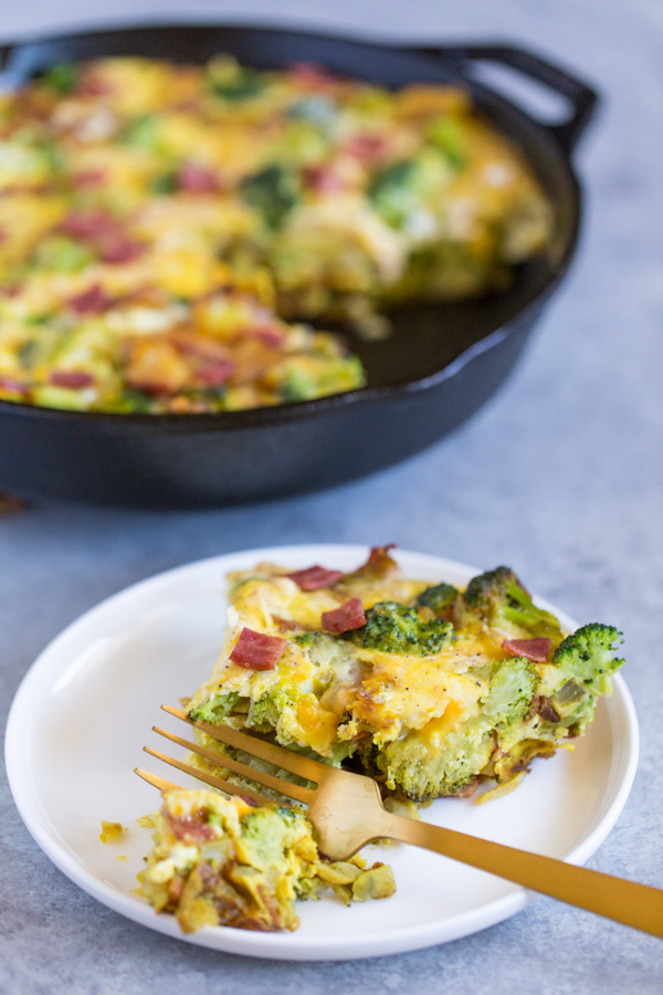 Cheesy Broccoli and Potato Frittata is a fast, easy, one-pan meal, perfect for busy week nights and weekend brunches. | www.heartandstove.com
