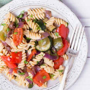 Roasted Greek Veggie Pasta Salad